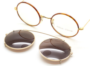 Vintage Hilton Classic 47mm True Round Eyewear With Blonde Tortoiseshell Rims And Matching Clip on Sunglasses At The Old Glasses Shop Ltd