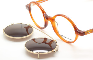 Anglo American 400 DB Demi Blonde Acetate Eyewear With Matching Sun Clip At The Old Glasses Shop Ltd