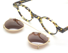 Frame Holland 704 06 Small Round Style Eyewear With Matching Sun Clip At The Old Glasses Shop Ltd