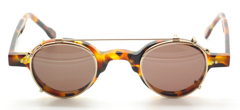 Frame Holland 704 24 Small Round Style Tortoiseshell Effect Eyewear With Matching Sun Clip At The Old Glasses Shop Ltd