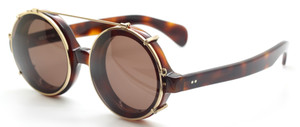 Thick Rimmed True Round Beuren Eyewear In Tortoiseshell Effect With Matching Sun Clip at The Old Glasses Shop Ltd