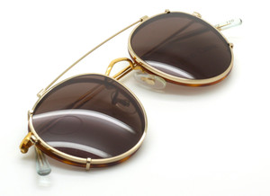 Hilton Panto 49mm Eyewear With Blonde Rims & Matching Sun Clip At The Old Glasses Shop Ltd