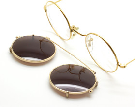 True Round Vintage Hilton 14kt Rolled Gold Eyewear 40mm With Matching Sun Clip At The Old Glasses Shop Ltd