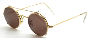Vintage True Round 42mm 14kt Rolled Gold Hilton Classic Eyewear With Hand Made Sun Clip At The Old Glasses Shop Ltd