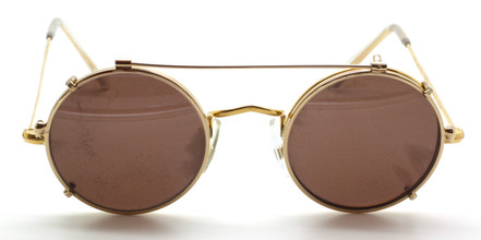 Vintage true round eyewear by Hilton 44mm 14kt rolled gold with matching sun clip at The Old Glasses Shop Ltd.
