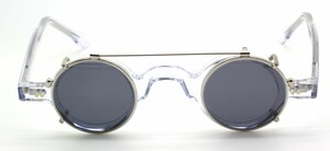 Clear acetate small round 703 Frame Holland glasses with matching sun clip at The Old Glasses Shop Ltd