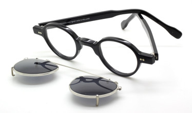 Small round style glasses handmade in Holland by Preciosa, now with matching sun clip at The Old Glasses Shop Ltd