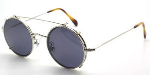 True Round Shiny Silver Glasses Wih Matching Sun Clip By Frame Holland at The Old Glasses Shop Ltd