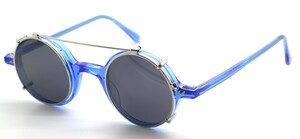 Beuren 1410 Bright Blue True Round Eyewear With Matching Sun Clip At The Old Glasses Shop Ltd