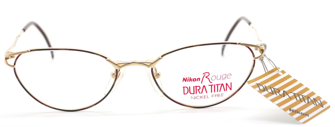 5748410146 Vintage NIKON ROUGE 6352 Stunning Gold   Purple Designer Eyewear With Cat  Eye Feel