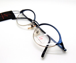Oval Half Rimmed Style Spectacles In Blue And Silver