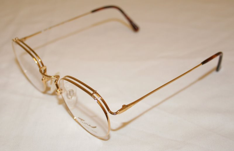 7c1dd36e04bf7 Gold finish oval spectacle frames from the 1980s by Tura