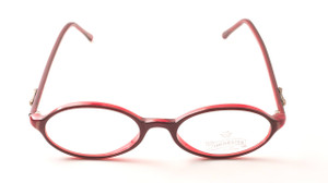 Two tone burgundy glasses.