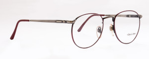 Classic Panto Shaped Vintage Giorgio Di Marco Oval Metal Eye Glasses In A Warm Burgundy Finish