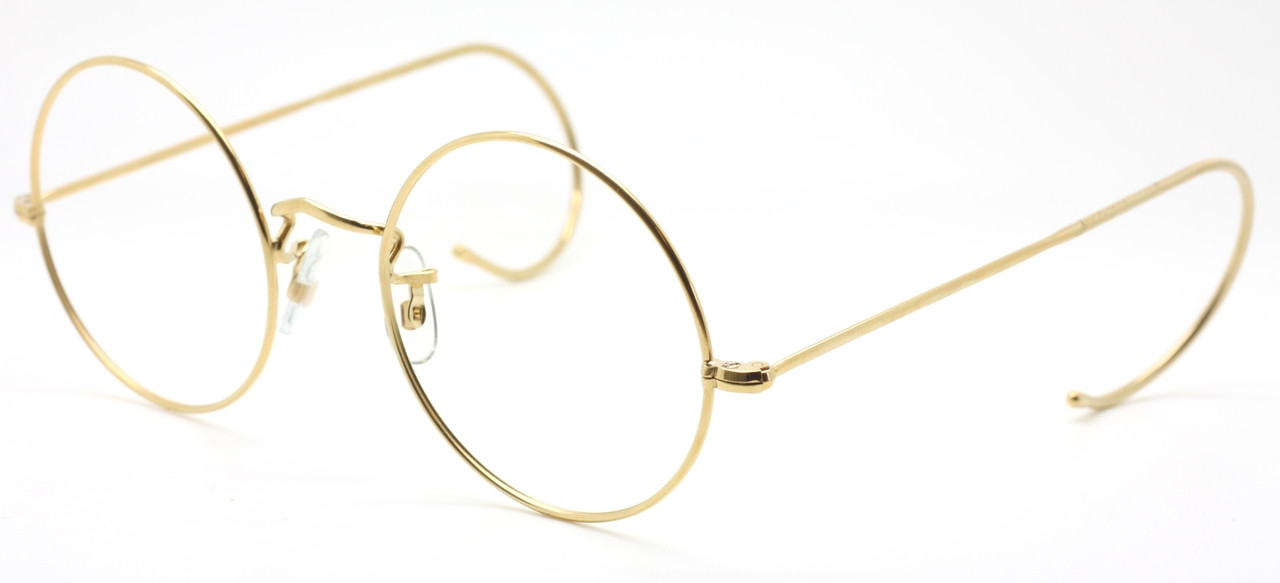 92832cf40ab CLASSIC VINTAGE SAVILE ROW 14k Gold Filled 49mm Round Spectacles With  Hooked Ears Curlsides
