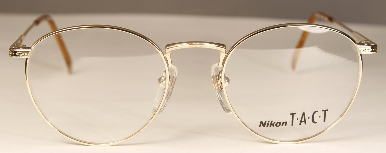 a80ebef906 NIKON TACT 6106 Vintage Glasses Shiny Gold Round Style Frames - The ...