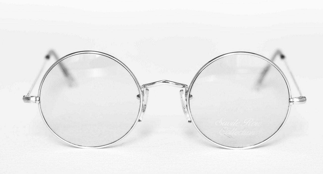 749956bc4fc2 VINTAGE SAVILE ROW Glasses in Silver Finish 14k Rolled Gold Round Frames  44mm Rims