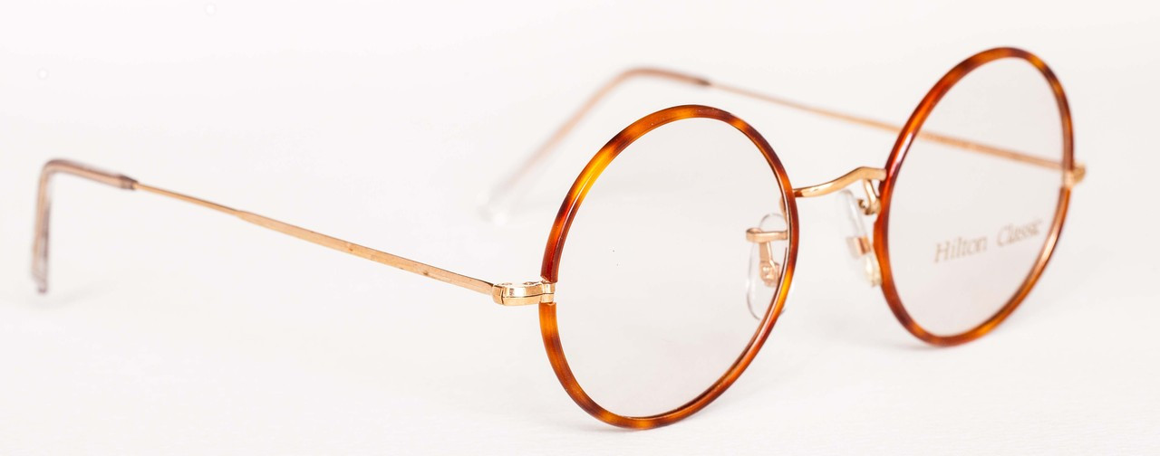 d4626c9f4db5 HILTON CLASSIC True Round Vintage Frames 14kt Rolled Gold Round Glasses  With Blond 47mm Rims