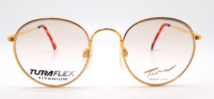 Gold panto glasses with Turaflex titanium frame from www.theoldglassesshop.com