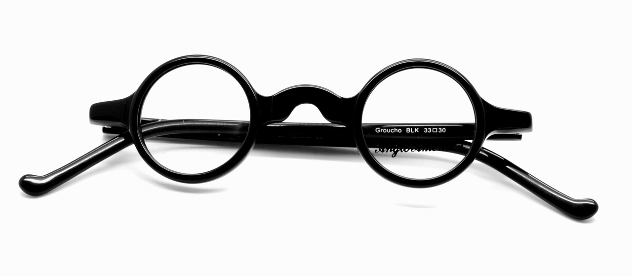 ec2801a8da Anglo American Groucho Small Lens Round Glasses Black Acrylic