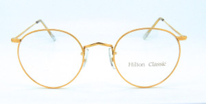 VINTAGE HILTON 14kt Rolled Gold Shiny Gold Panto Frames with 49mm Lenses