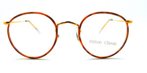 VINTAGE HILTON 14kt Rolled Gold Shiny Gold 47mm Panto Frames With Blonde Rims