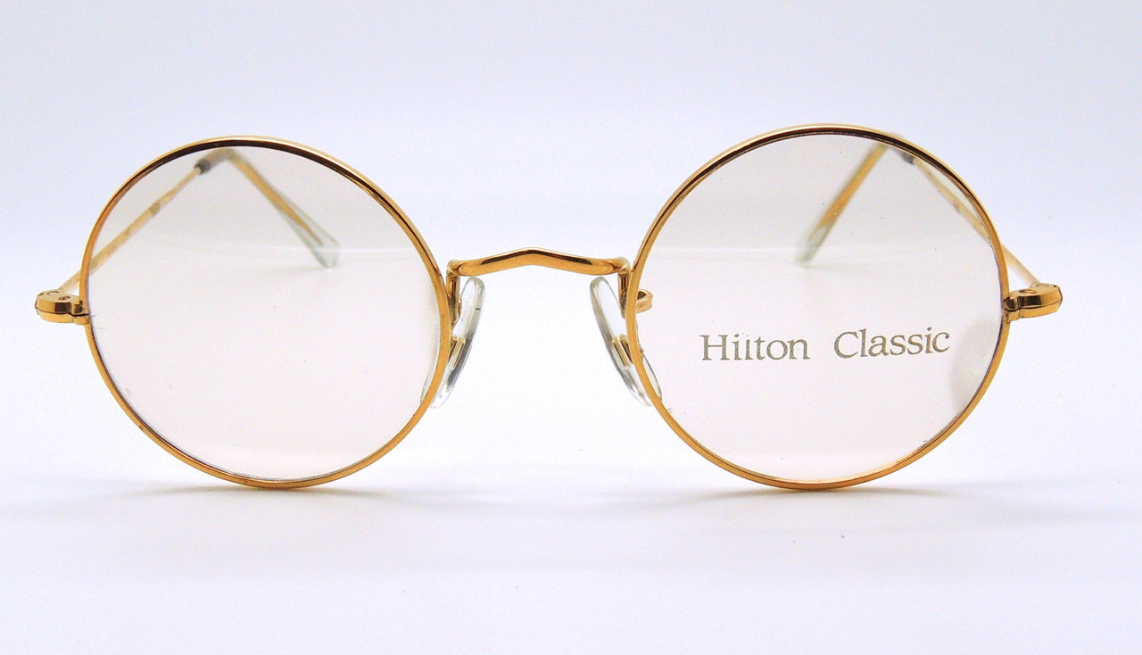 150aeaa6218 HILTON CLASSIC by Algha Works Round Vintage Frames 14kt Rolled Gold Glasses  42mm Rims