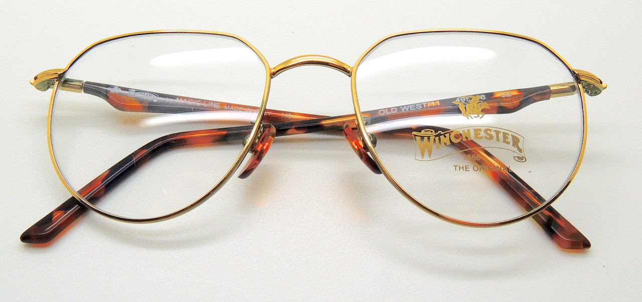 5b7b681120 WINCHESTER ITALIAN Old West 11 Gold Metal Frames With Tortoiseshell Colour  Acrylic Arms