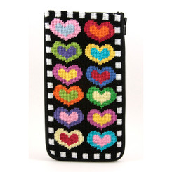 Hearts on Black Eyeglass Case