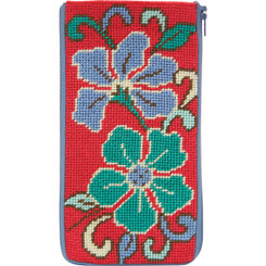 Red Asian Floral Eyeglass Case