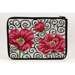 Poppies on Scroll Purse