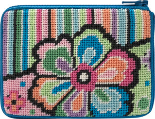 Pastel Floral on Stripes coin purse