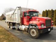 1998 350 hp R-Model Mack Tri Axle Dump Truck, features a 15.5-foot aluminum dump bed.