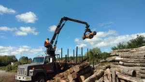 international 2674 log loader truck prentice 120c loader