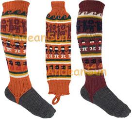 Full Color Alpaca Leg Warmers with Alpaca Motif - 16481101