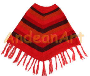 "Striped Alpaca Poncho ""Fire"" for Children - Earth Color - 16861707"