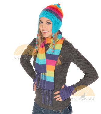 Striped Alpaca Scarf - Alpaca Blend - Rustic Quality - Bold Color - 16772207