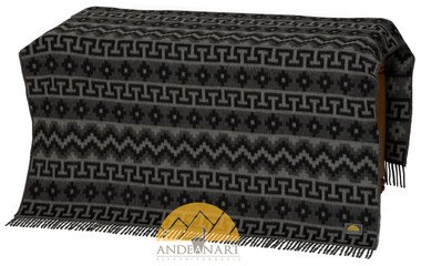 Lap Alpaca Throw Geometric Pattern Alpaca AND WOOL Blend Blanket by AndeanSun - Black and Grey - 16893522