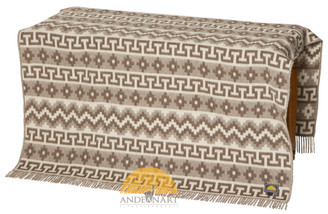 Lap Alpaca Throw Geometric Pattern Alpaca AND WOOL Blend Blanket by AndeanSun - Light rose brown and Ivory - 16893522