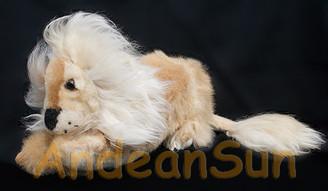 "Alpaca Fur Lying Lion 10"" long (fur to fur) - 8"" (hide to hide) - Mixed Colors - 15961605"