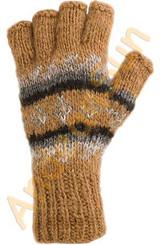 100% Alpaca FINGERLESS Gloves with Andean Motif (HandSpun-HandKnitted-UNDYED Natural Alpaca Colors) - 16783213