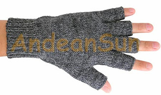 Fingerless Solid Color Alpaca Gloves - Natural - 16783215