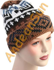 Double Knitted Beanie Alpaca Hat with Alpaca Motif - Natural Color - 16752217