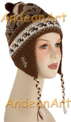 Double Knitted Ear Flap Alpaca Hat with Alpaca Motif - Natural Colors - 16752203