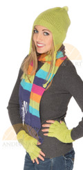 Double Knitted Solid Color Ear Flap Alpaca Hat - Bold Color - 16752204