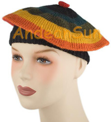 Striped Alpaca Beret - Earth Color - 16761703
