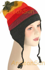 Striped Ear Flap Alpaca Hat - Earth Color - 16752210
