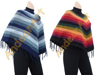 "Striped Alpaca Poncho ""Fire"" - Earth Colors - 16862204"
