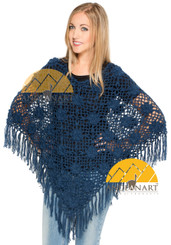 Crocheted Alpaca Poncho Roses - Steel Blue - 16862206