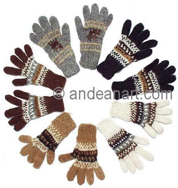 100% Alpaca KIDS Gloves with Andean Motif (HandSpun - HandKnitted - UNDYED Natural Alpaca Colors) - 16783103